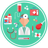 Hospital concept with item icons. Doctor with first aid kit in flat design style Stock Photo