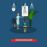 Hospital concept. Ophthalmologist provides medical check up for patient. Vector illustration in flat style Royalty Free Stock Photos
