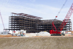 Hospital Construction Site & Crane Stock Images