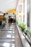 Hospital corridor. Leading to a reception area royalty free stock images