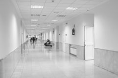 Hospital corridor in black and white Royalty Free Stock Photo
