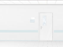 Hospital corridor with blank wall mockup and door, 3d render. Stock Photography