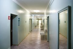 An empty hospital corridor royalty free stock photos