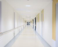 Hospital corridor. Empty hospitalcorridor with white walls Royalty Free Stock Images