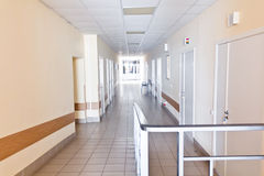 Hospital corridor interior without sicks Royalty Free Stock Photos