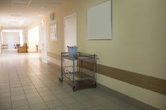 Hospital corridor interior without sicks Royalty Free Stock Photos