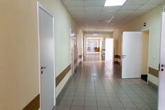 Hospital corridor interior without sicks Royalty Free Stock Image