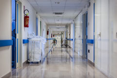 Hospital corridor at night Royalty Free Stock Images