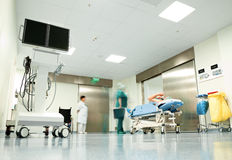 Hospital corridor patient trolley Royalty Free Stock Images