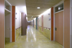 Hospital corridor with private medical offices. Stock Photography