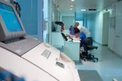 Hospital corridor registration desk medical center Stock Photos