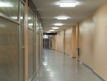 Hospital corridor. View of hospital interior corridor clinic Royalty Free Stock Photos