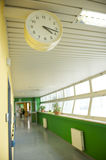 Hospital corridor with watch Royalty Free Stock Photography