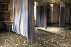 Hospital Curtains. Curtains in an Empty Abandoned Hospital Room Stock Photography