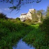Hospital da cruz do St e Almhouses da pobreza nobre, na luz solar de nivelamento morna do outono, Winchester, Hampshire, Reino Un imagens de stock