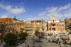 Hospital de la圣诞老人Creu我Sant波城,在巴塞罗那 免版税库存照片