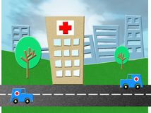 Hospital de la emergencia stock de ilustración