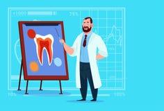 Hospital de la estomatología del trabajador de las clínicas médicas del doctor Dentist Looking At Tooth a bordo Fotografía de archivo libre de regalías