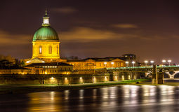 Hospital de La Grave in Toulouse by night Royalty Free Stock Photos