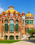 Hospital de la Santa Creu i Sant Pau in Barcelona. BARCELONA, SPAIN - SEPTEMBER 13, 2014: Hospital de Sant Pau by  Catalan modernist architect by Lluis Domenech Royalty Free Stock Images