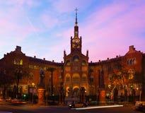 Hospital de la Santa Creu i Sant Pau in evening Royalty Free Stock Photos