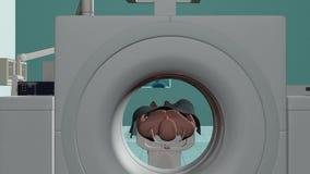 Hospital de MRI, mosca de la cámara de Brain Scan, cantidad común almacen de metraje de vídeo