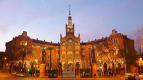 Hospital de Sant Pau in evening. Barcelona stock footage