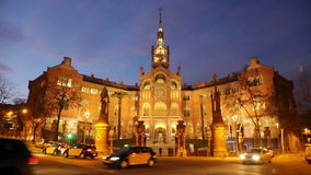 Hospital de Sant Pau in evening stock video