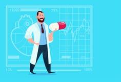 Hospital del trabajador de las clínicas del doctor Holding Pill Medical stock de ilustración