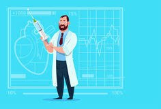 Hospital del trabajador de las clínicas del doctor Holding Syringe Medical ilustración del vector
