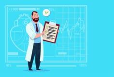 Hospital del trabajador de las clínicas médicas de los resultados y de la diagnosis del análisis del doctor Holding Clipboard Wit stock de ilustración