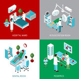 Hospital Departments 4 IsometricIcons Square Royalty Free Stock Photo
