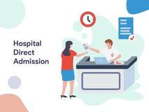 Hospital Direct Admission illlustration. Modern flat design style for website and mobile website.Vector illustration. EPS 10 stock illustration