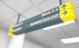 Hospital Directional Sign Intensive Care Unit Stock Image