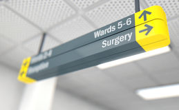 Hospital Directional Sign Surgery. A ceiling mounted hospital directional sign highlighting the way towards the surgery ward - 3D render Royalty Free Stock Image