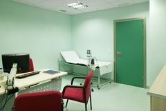 Hospital doctor consulting room. Healthcare equipment. Medical treatment equipment. Office stock images