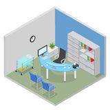 Hospital doctor desk room interior flat 3d isometric vector Stock Photos