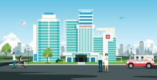 Hospital. Doctor and nurse in front of hospital with ambulance vector illustration