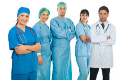 Hospital doctor woman and her team Royalty Free Stock Images