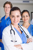 Hospital doctors. Group of young hospital doctors portrait royalty free stock photography