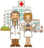 Hospital doctors and nurse. This is an illustration of a hospital doctor and nurse Stock Photography