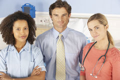 Hospital doctors and nurse portrait stock photo
