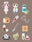 Hospital doodle stickers. Cartoon vector illustration Stock Photos
