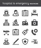 Hospital e emergência Ícones lisos dos cuidados médicos preto Imagem de Stock Royalty Free