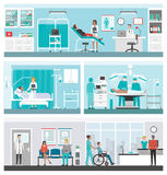 Hospital e grupo da bandeira dos cuidados médicos Fotos de Stock Royalty Free
