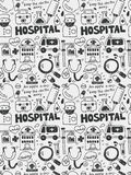 Hospital elements doodles hand drawn line icon,eps10 Stock Photography