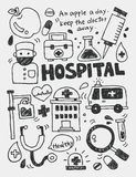 Hospital elements doodles hand drawn line icon,eps10 Stock Images