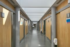 Hospital emergency corridor hall with rooms. Health center indoor. Medicine royalty free stock images