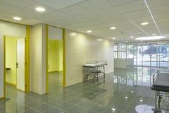 Hospital emergency entrance hallway. Health center indoor corridor. Horizontal stock image