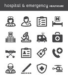 Hospital and emergency. Healthcare flat icons. Black Royalty Free Stock Image